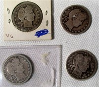 Lot of 4 Silver Barber Quarters