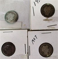 Lot of 4 Silver Barber Dimes
