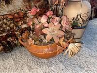Loveseat and 2) Floral Arrangements