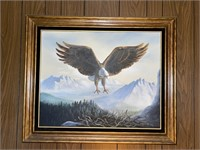 Signed NEVA Eagle in Flight Painting
