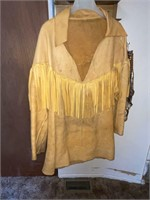 Tan Fringed Leather Pull Over - Homemade No Size