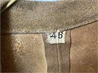 Men's Fringed Tan Leather Coat Size 46