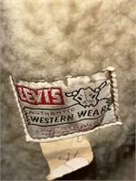 Levis Western Wear Tan Leather and Fleece Coat