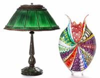 Fine Tiffany Studios lamp and David Patchen studio vase