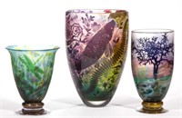 Jonathan Harris Cameo Art Glass Vases