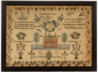 """Fine Chester Co., Pennsylvania sampler, 17"""" x 24"""" sight. From a collection of over 30 samplers"""