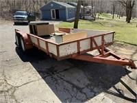 New Holland Tractor, 16ft Bumper Hook Trailer