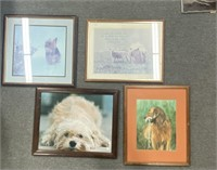 Lot of snow Yorkie art print, Glasses wearing d