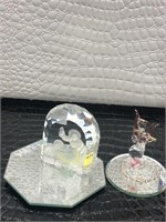 Glass Nativity Scene Figurine and Pink and Clear