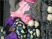 Lot of Plush Dolls, Fuschia Pin Cushion, and