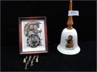 Antique Hummel Bell and Antique Hummel Clock w