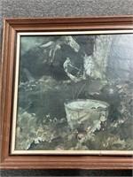 Print of bucket in garden