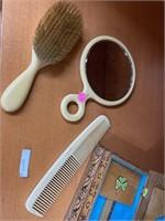 Vintage hair brush, paddle w mirror & handmade