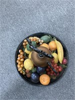 Fruit bowl for home decor on marble stand