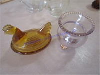 AMBER & CLEAR DISHES
