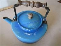 BLUE METAL TEAPOT