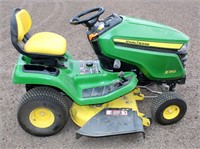 Lot # 5002. JD X350 Riding Mower, runs good.  Absentee bidding available on this item.  Click catalog tab for more information.