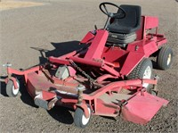 """Lot # 5003.  1985 Toro Ground Master Mower, 72"""" deck, 4-cyl Continental gas eng, runs.  Hrs on meter are not correct.  Absentee bidding available on this item.  Click catalog tab for more information."""
