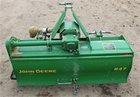 Lot # 5014. John Deere 647 Rototiller, 3-pt, pto, 4'.  Absentee bidding available on this item.  Click catalog tab for more information.