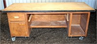 """Work/Shop Table #6, on casters, w/leaf extension, 26 1/2"""" d x 72"""" w x 31 1/2"""" h"""
