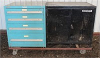 """(2) Cabinet Unit, on casters, Craftsman is 25"""" d x 40"""" h x 36"""" w; 4-Drawer Cabinet is 30"""" w x 28"""" d x 40"""" h"""