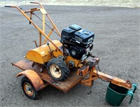Old Rear Tine Rototiller on Small BP Trailer (no title)