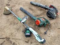 Craftsman Gas Blower, B & D Elec Blower, Scotts Battery Powered Line Trimmer