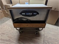 Steel rolling portable powered storage box