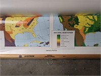 Roll up US map, and display boards.