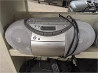Two cassette/CD players. Sony CFD-S350 and Coby