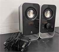 Pair of Logitech speakers.