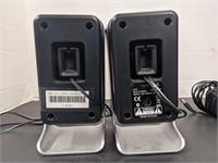 Pair of Logitech brand speakers.