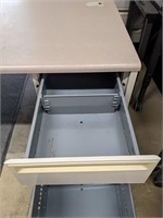 Large desk. 5 drawers. No keys. Keyboard tray.