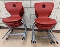 10 plastic chairs with metal bases. Some missing