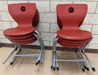 11 plastic chairs with metal bases. Some missing
