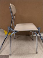 7 metal chairs. About 28in tall. Bidding on one
