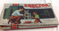Vintage erector toy box with some extras