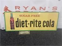 Vintage embossed tin Diet Rite cola advertising