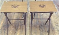 2 vintage folding tables with storage stand