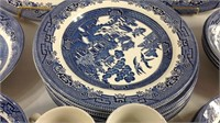 57 piece Churchhill England Blue willow china