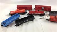 Eight vintage s gauge train cars American Flyer