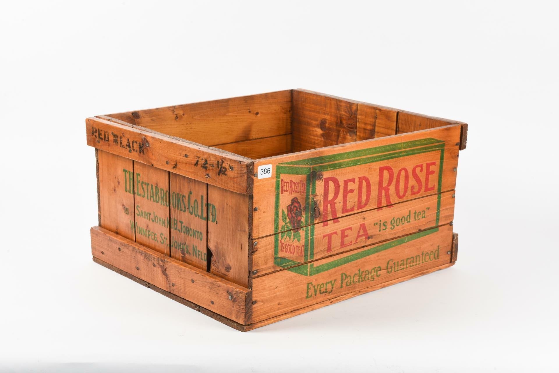 """RED ROSE TEA """"IS GOOD TEA"""" WOODEN CRATE / NO LID"""