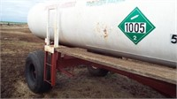 2- 1000 gal Anhydrous tanks, on trailer,