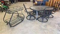 Outdoor Glass Top Table with 4 Rocker/Swivel
