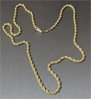 22 Inch 14 Karat Yellow Gold Rope Necklace