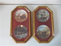 4 Framed Collector Plates /Assiettes de collection