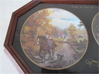 4 Framed Collector Plates/ Assiettes de collection