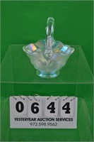Iridescent Fenton glass basket