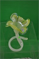 Yellow and clear Murano glass candle holder