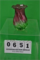 Murano pink and green hand blown glass vase